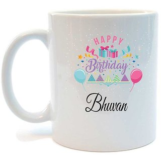 Happy Birthday Bhuvan Printed Coffee Mug by Juvixbuy