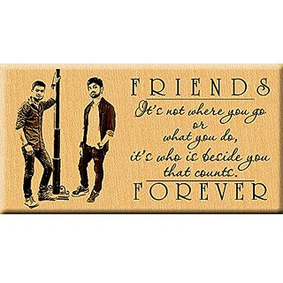 Incredible Gifts Friend's Forever Photo Plaque Wood Steam Beech ( 7x4 inches) Brown