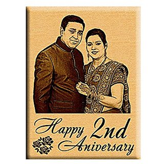 Incredible Gifts First or 2nd Marriage Anniversary gift  Personalized Photo Plaque (5x4 inches) Steam Beech