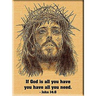 Jesus Christ Engraved Photo on Wood - Christmas Plaque (8x6)