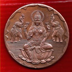 GODDESS  LAXMI JI 1818 TEMPLE TOKEN COIN BIG SIZE WEIGHT 45 GM. SIZE 50 MM