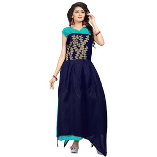 Florence womans Blue Bangalore Silk Anarkali Gown(GC022)