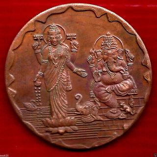 SHREE GANESH JI  LAXMI JI 1818 TEMPLE TOKEN COIN BIG SIZE WEIGHT 45 GM. SIZE 50 MM