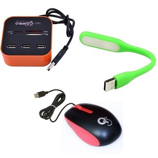 Q3 Q8N High Speed Ergonomic Design USB Mouse with 4Port USB HUB, USB Light(Green,Red,Orange)