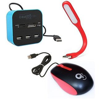 Q3 Q8N High Speed Ergonomic Design USB Mouse with 4Port USB HUB, USB Light(Red,Red,Blue)