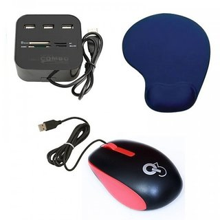 Q3 Q8N High Speed Ergonomic Design USB Mouse All In One with 3 ports for SD/MMC/M2/MS Multi Card Reader Palm Support Mouse pad D24 Combo Set (Multicolor)