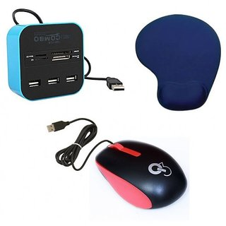 Q3 Q8N High Speed Ergonomic Design USB Mouse All In One With 3 Ports For Sd/mmc/m2/ms Multi Card Reader Palm Support Mouse Pad D25 Combo Set (Multicolor)