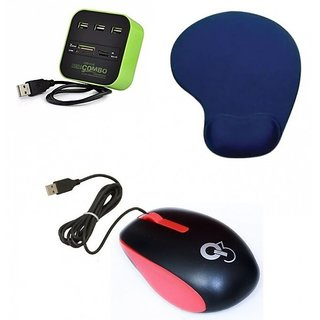 Q3 Q8N High Speed Ergonomic Design USB Mouse All In One With 3 Ports For Sd/mmc/m2/ms Multi Card Reader Palm Support Mouse Pad D26 Combo Set (Multicolor)