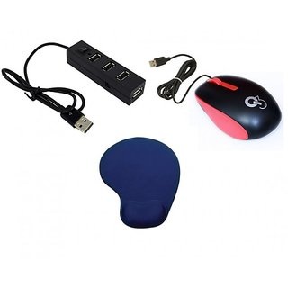 Q8N High Speed Ergonomic Design USB Mouse with 4Port USB HUB With Single Switch And Mousepad ( Red Black Blue)
