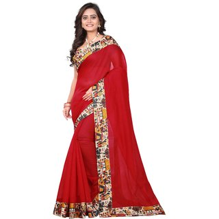 Happy Embroideries Women's Chanderi Silk Saree With Blouse Piece (culture red)
