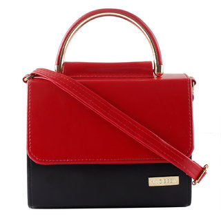 Black and Red Leatherette Sling bag for Women