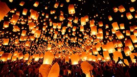 Crazy Sutra 5-Piece Make A Wish High Flying Sky Lantern Balloon with Fuel Wax Candle, Multicolour