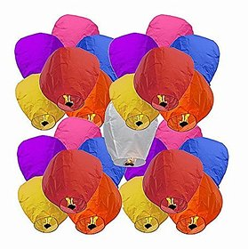 Crazy Sutra 25-Piece Make A Wish High Flying Sky Lantern Balloon with Fuel Wax Candle, Multicolour