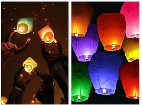 Crazy Sutra 50-Piece Make A Wish High Flying Sky Lantern Balloon with Fuel Wax Candle, Multicolour