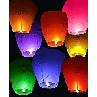 Crazy Sutra 20-Piece Make A Wish High Flying Sky Lantern Balloon with Fuel Wax Candle, Multicolour