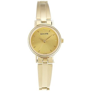 Sonata Analog Gold Dial Womens Watch - 8096YM05
