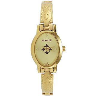 Sonata Analog Gold Dial Womens Watch - 8100YM04