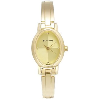 Sonata Analog Gold Dial Womens Watch - 8100YM02