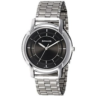 Sonata Analog Black Dial Mens Watch (7954SM06)