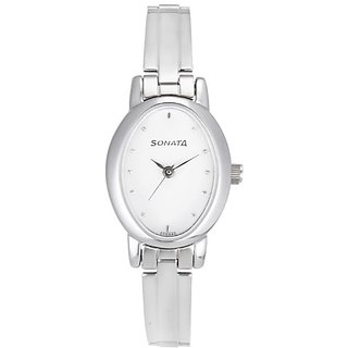 Sonata Analog White Dial Womens Watch - 8100SM01