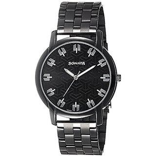 Sonata Analog Black Dial Mens Watch - 77031NM01