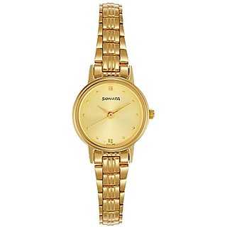 Sonata Analog Champagne Dial Womens Watch - 8096YM02