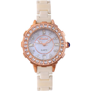Women Fashion White Dail Ceramic Diamonds Quartz Wrist Watches