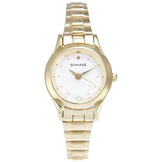 Sonata Analog white Dial Womens Watch - 8098YM01