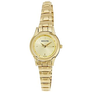 Sonata Analog Champagne Dial Womens Watch - 8098YM02