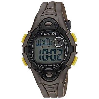 Sonata Super Fibre Digital Grey Dial Mens Watch - 87012PP01