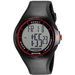 Sonata Digital Grey Dial Mens Watch-7992PP01