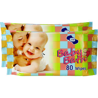 OM Skincare Baby Wipes With Aloe Vera - ( PACK OF 2 ) TOTAL 160 PCS