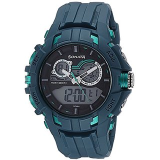 Sonata Analog-Digital Grey Dial Mens Watch-77045PP01