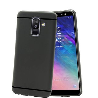 Soft Silicone i-Black Slim Rubberised Case Cover For Samsung Galaxy A6 Plus - Black
