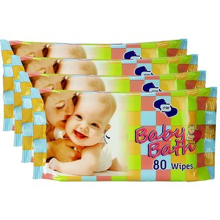OM Skincare Baby Wipes With Aloe Vera - ( PACK OF 4 ) TOTAL 320 PCS