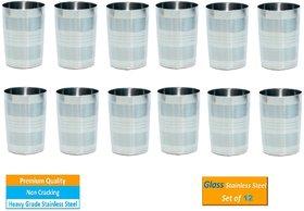 AH Stainless Steel Designer Glass 250 ML ,  Multi Purpose Unbreakable  Water Drinking Glass ( Set of 12 )