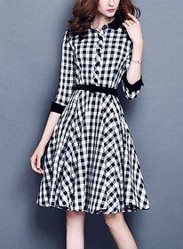 ANB-040 Westchic Black  White Check Midi Dress