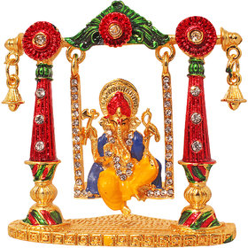 Art N Hub Lord Shri Ganesh Dashboard Accessories  - Gold