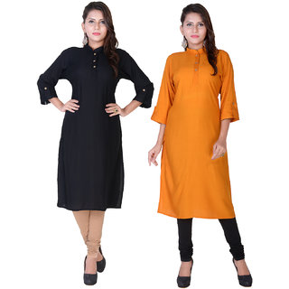 Om  Boutique Plain Black Yellow Rayon Stitched Kurtis combo (Pack of 2)