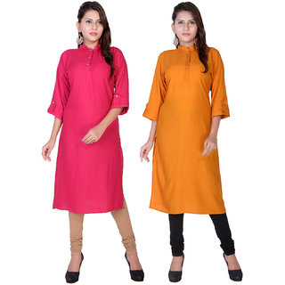 Om  Boutique Plain Rose Yellow Rayon Stitched Kurtis combo (Pack of 2)