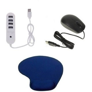 Q3 4Port High Speed 1 TB Support USB 2.0 Hub Wrist Support Mousepad With Standard Handy Wired Mouse Combo Set (Black White Blue)