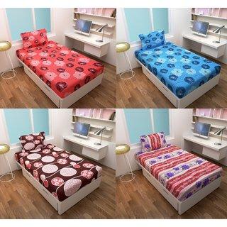 Myru International 150 TC Cotton Single Floral Bedsheet(4 Single Bedsheets with 4 Pillow Cover, Multicolor)