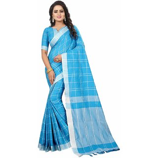 Indian Style Sarees New Arrivals Latest Women's Linen Saree With Blouse Piece Pure Lenin Cotton Sarees With Checks Desig