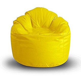 Caddy Full  Artificial  Leather Sofa Mudda Yellow Bean  Bag  Cover Jumbo