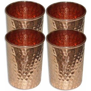 Martsindia Set of 4  Copper Glass for Ayurveda Health Benefits Drink ware Hammered Tumbler