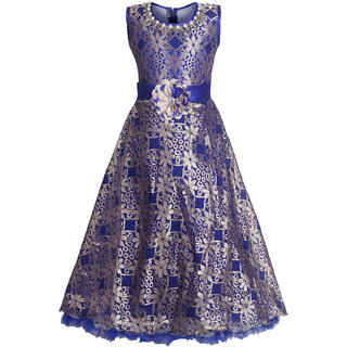 KBKIDSWEAR Girl's Round Neck Party Wear Soft Net Ball Gown