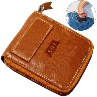 Men's Pure Leather Brown Stylish Bi-fold Wallet Credit Card Holder Coin Holder Money Bag Purse Slim Size