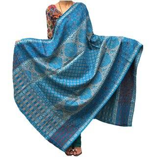 Varun Cloth House Women's Pure Woollen Shawl For Extreme High Winters (vch3809BlueFree Size)
