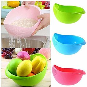 Shraddha Multicolor Plastic Rice Pulses Fruits Vegetable Noodles Pasta Washing Colanders & Strainer (Colour May Vary)