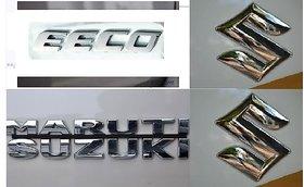 Logo MARUTI SUZUKI EECO Monogram Chrome Car Monogram Emblem BADGE FAMILY PACK